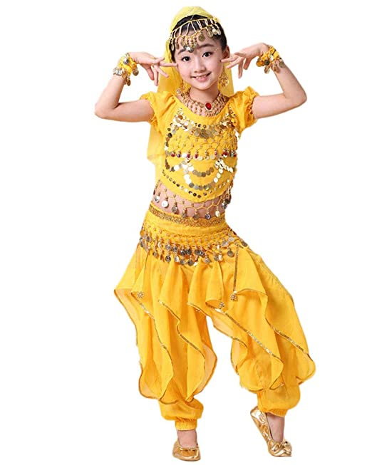 Traje De Danza De Vientre Top Pantalones Baile India Vestidos De Baile para Niña/Mujer