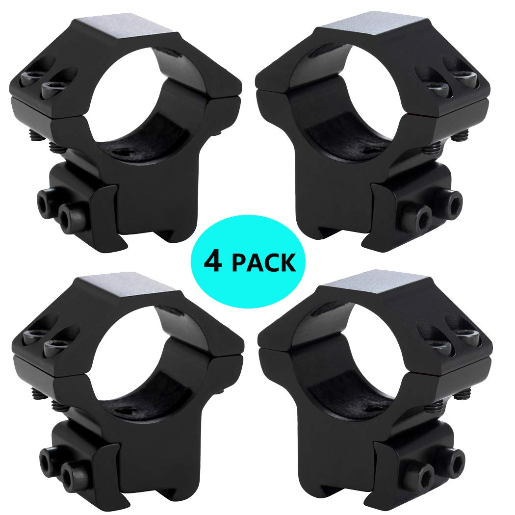 "Tenako 4 Pack 1"" Dovetail Sight Scope Ring Mount Medium Profile for 11mm Dovetail Rails"