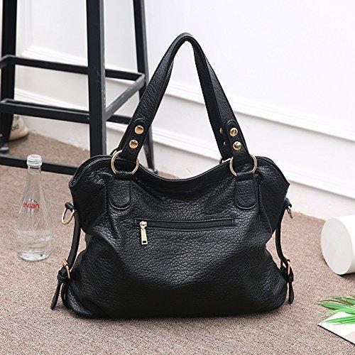 6fa7766f9f0e Big Lady Purse Women Handbags Soft Leather Tote bag Shoulder Bag With  Tassel(Black)  Handbags  Amazon.com
