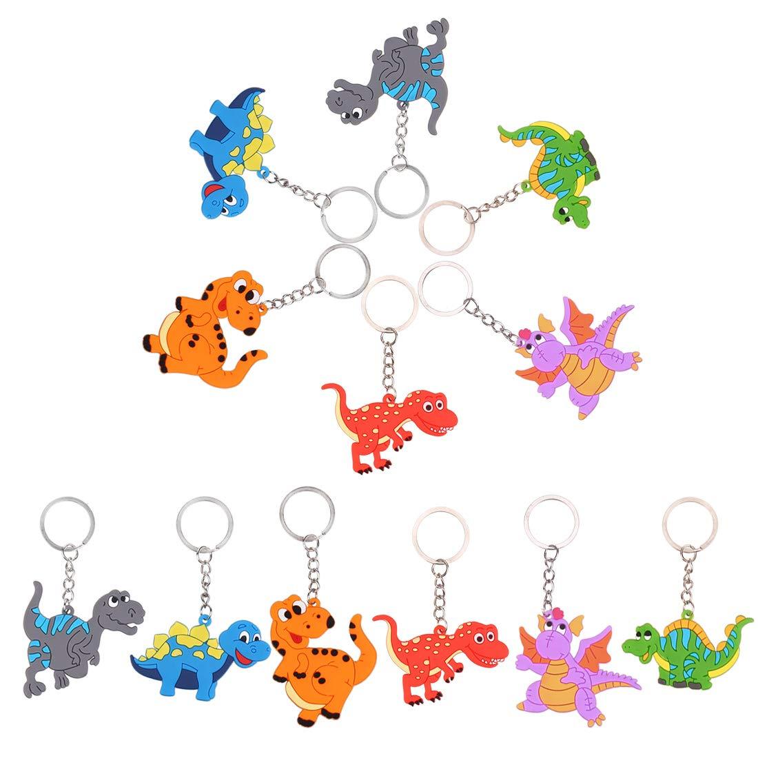 LOKIPA 24Pcs Dinosaur Keyring Keychain Pendant for Kids Party Bag Filler and Dinosaur Party Supplies Favors