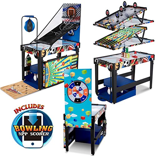 MD Sports 48 inch 12-in-1 Combo Multi-Game Table, Games with Air Powered Hockey, Basketball, Boxing, Target Shooting, Bean Bag Toss, Bowling with APP Scorer ()