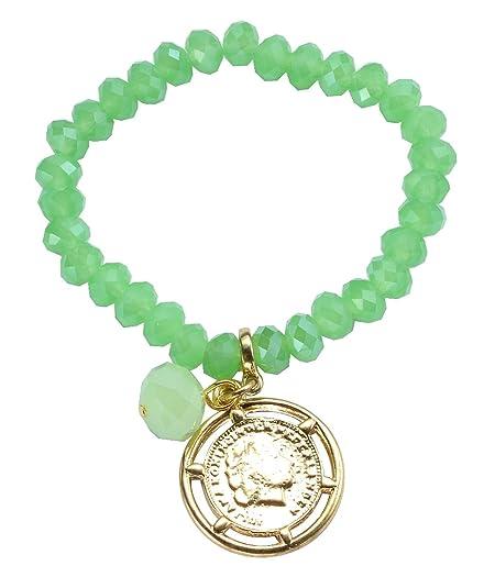 Grünes Perlen Armband Mit Einer Münze Als Anhänger Armband Mit