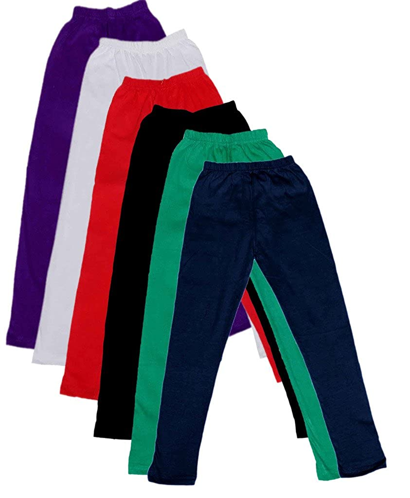 Pack of 6 -Multiple Colors-1-3 Years Indistar Little Girls Cotton Full Ankle Length Solid Leggings