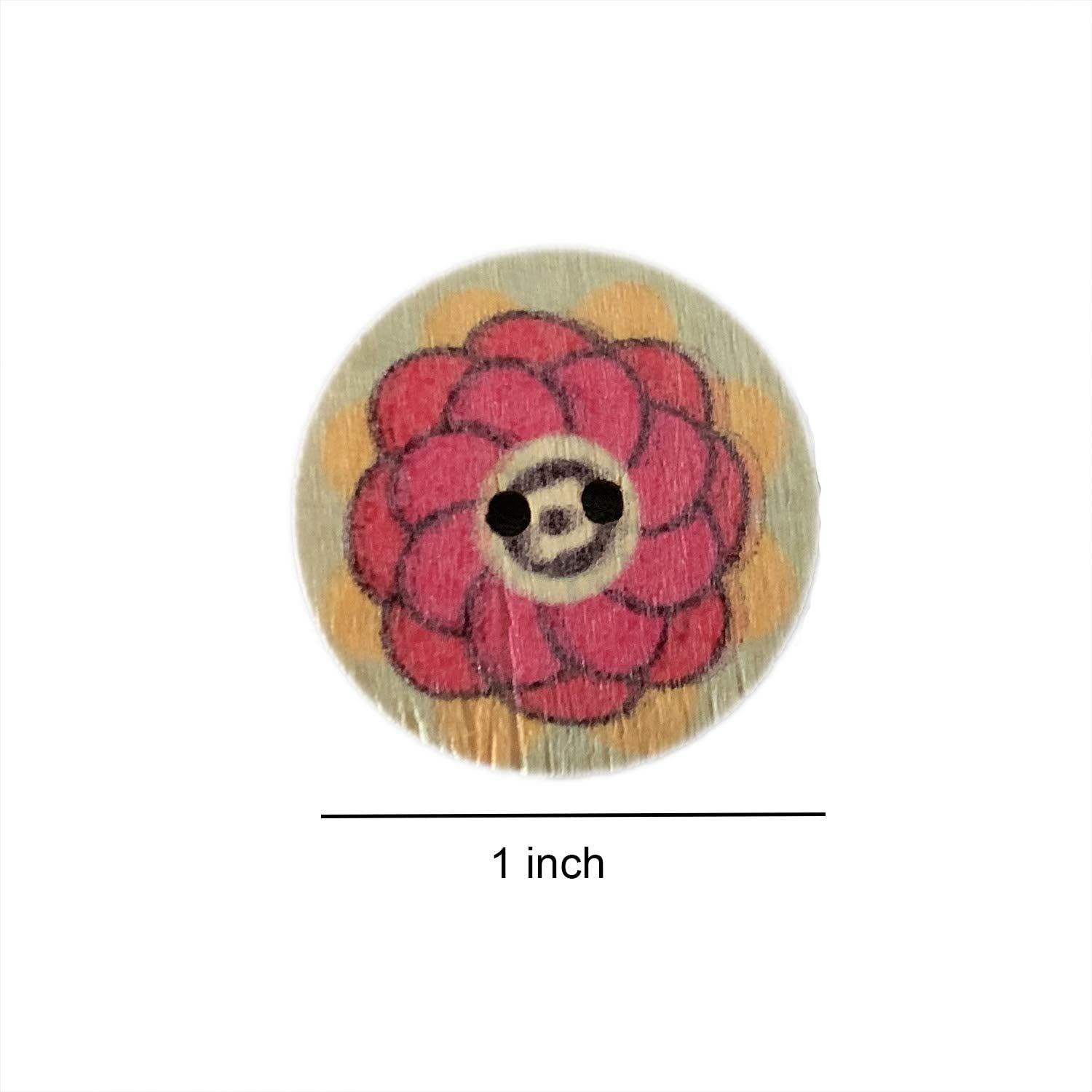 100 PCS 0.6 Inch Wood Sweing Buttons Vintage Wood Buttons with 2 Holes for DIY Sewing Craft Decorative