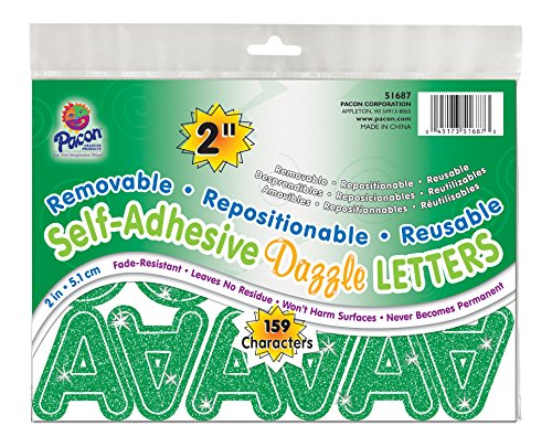"Pacon 2"" Self-Adhesive Uppercase Letters, 159-Count, Green Dazzle (51687)"