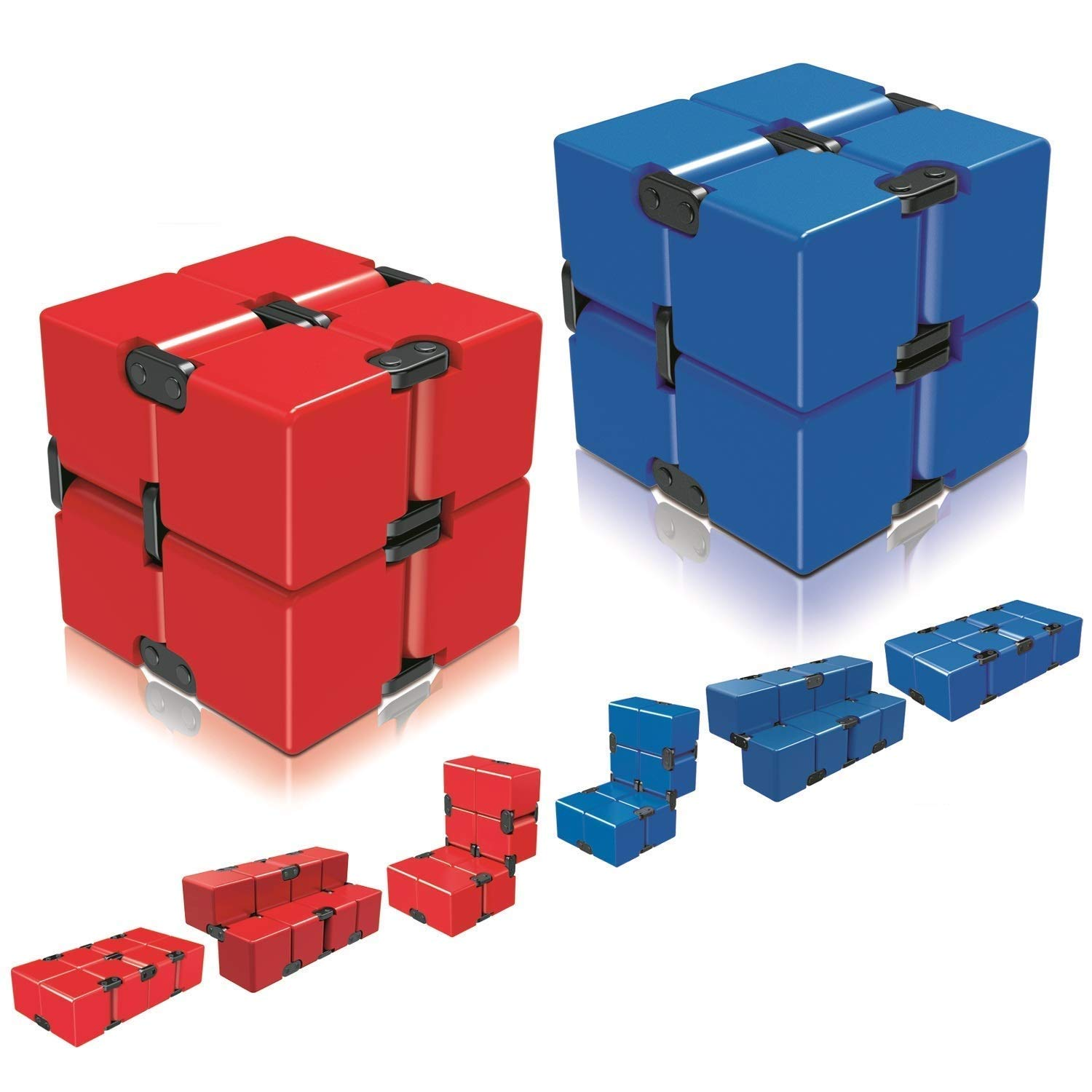 Infinity Cube Fidget Cube Toy for Adults & Kids Relieve Stress & Anxiety Cool Hand Fidget Stress Toy Magic Flip Rubiks Cube for ADD,ADHD,OCD,Anxiety Disorder,Autism by Ganowo (Red&Blue)