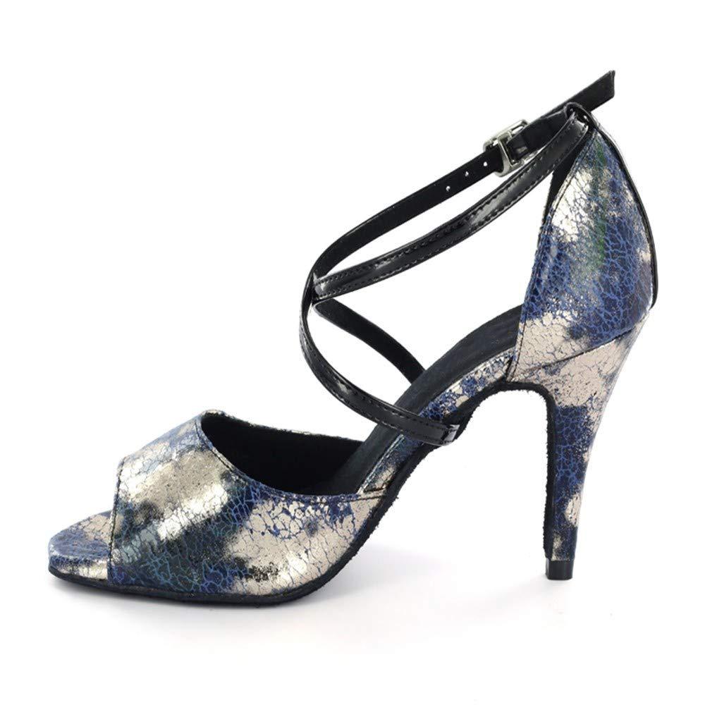 7.5cm HCCY Chaussures de Danse Latine à Fleurs Bleues 45 EU