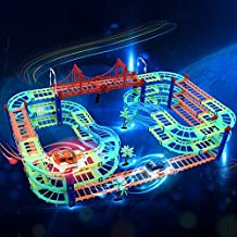 QQPOW Train Tracks Car Toys,169PCS Magic Car Race Track Set with 2 Vehicles, DIY Flexible Glow Railway Track Plastic Toy Building Playset Gifts for Kids Boys Girls
