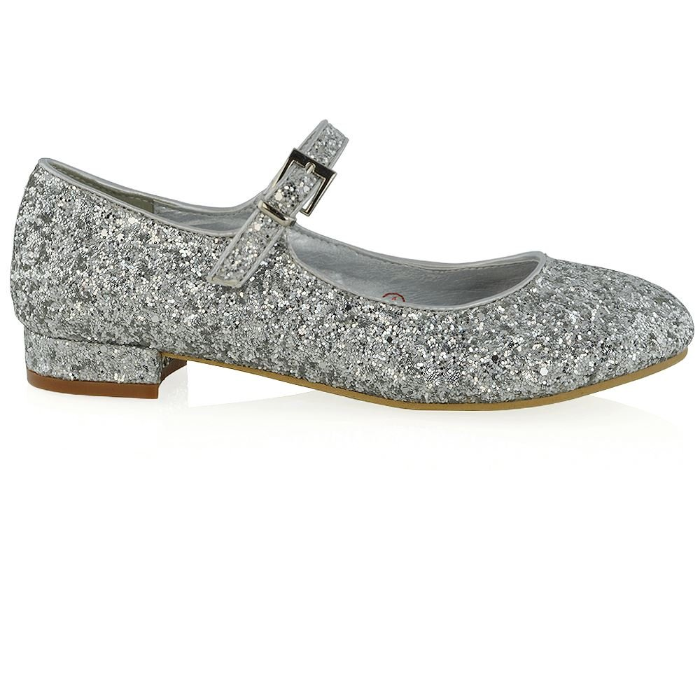 ESSEX GLAM Womens Glitter Low Heel Bridal Ladies T-Bar Prom Party Sparkly  Pumps Shoes: Amazon.co.uk: Shoes & Bags