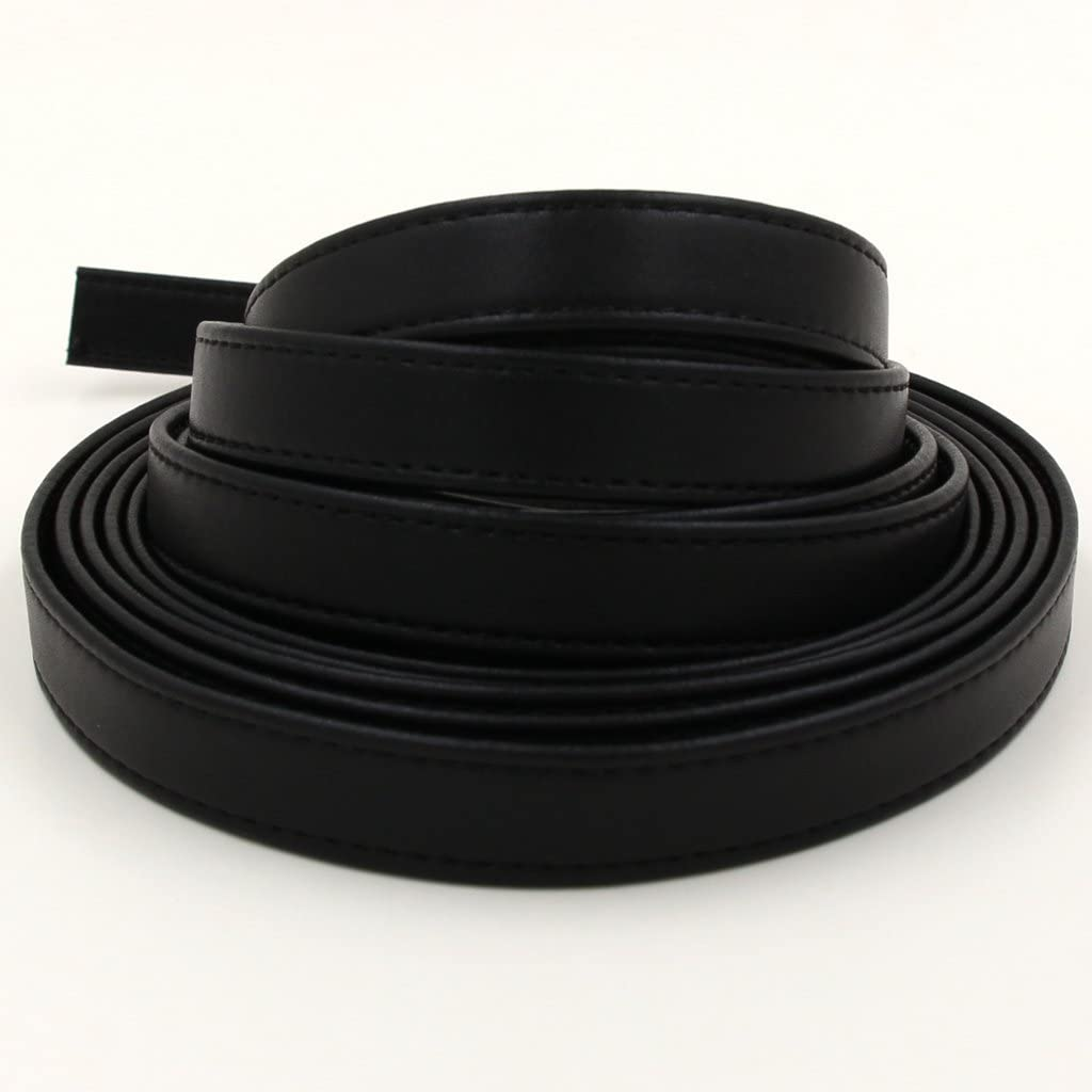 Black, Length: 108 1//10 Thick Double Sided Faux Leather Strip Crafts Strap 3//5 Wide