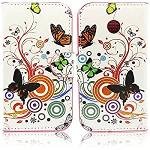 Beebiz color butterfly pu leather protective cover for Motorola Moto E cases with credit card slot wallet function