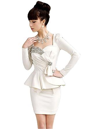 new products 92e56 232a8 Signora elegante donna, maniche a sbuffo perline Peplum ...