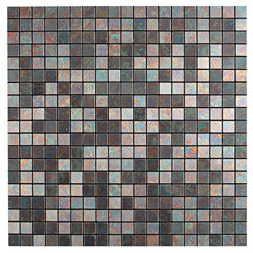 Modern Matel Aluminum Mosaic Bursh Type Peel&Stick Tiles Kitchen Decoration Backsplash Accent Wall Tv&Sofa Background Bathroom Wall 1 Sq.ft (Rainbow)