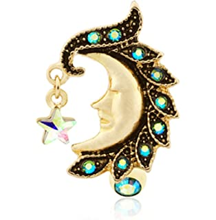 Sold Individually Freedom Fashion Golden Heavenly Moon Face Reverse Drop Top 316L Gold Plated Steel Belly Button Ring