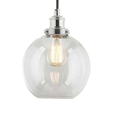 linea di liara primo industrial factory pendant lamp brushed nickel onelight fixture with glass shade fabric wrapped cord exposed hardware 5inch