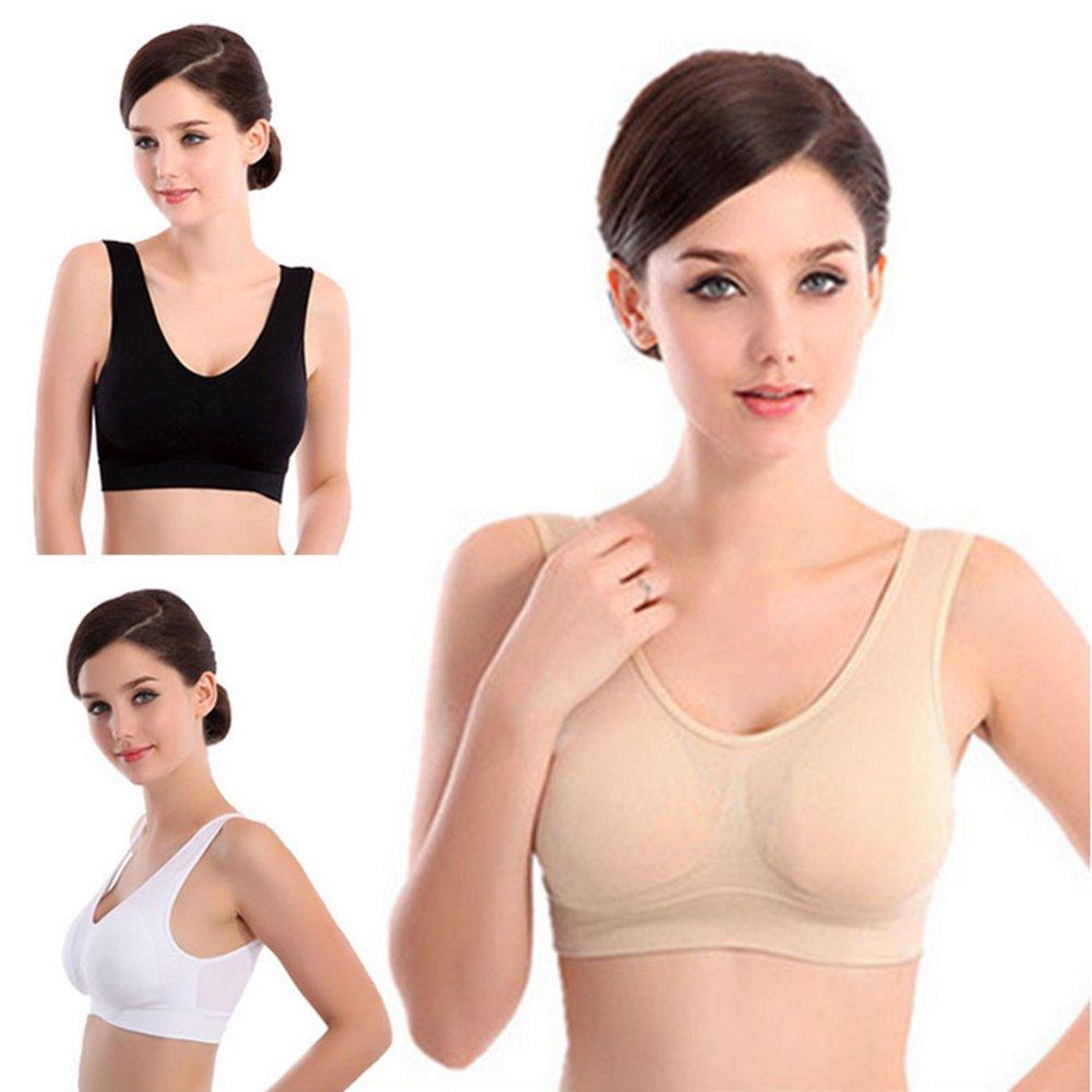 Lifecolor Sujetador Deportivo Con 3 Hilos sin Costuras y sin Costuras Para Mujer con Almohadillas Extraíbles(XL)