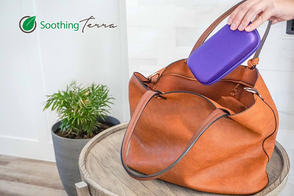 Hard Shell Essential Oil Carrying Case by Soothing Terra - Holds 10 Bottles (5ml or 10ml) Essential Oils Case For Traveling (Purple)