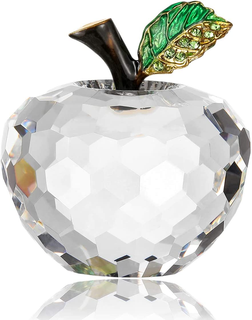 Vie jeune Crystal Apple Figurine Paperweight, Handmade Statue Ornament Home Decoration, Collectible Crystal Crafts, Come with Gift Box, Great Gift for Birthday Holidays Christmas (Clear-60mm)