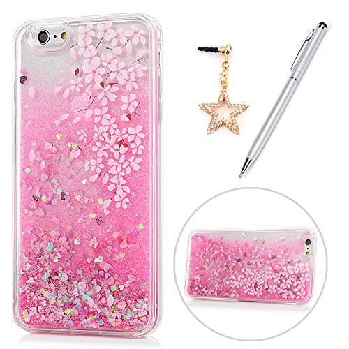 iPhone 6 Case, iPhone 6S Case, KASOS Colorful Painting Pink Flower Glitter Liquid Case for Girls Soft TPU Frame PC Bottom Shell Slim Fit Lightweight Cover & Dust Plug & Stylus - Cherry Blossom