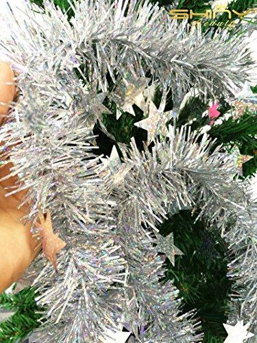 ShinyBeauty Vintage Silver Garland, Ultra Velvet Christmas Tree Garland, Holiday Decor, Old Fashioned Christmas, Silver Christmas Decoration -