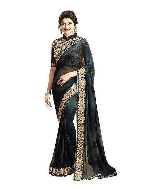 711f2ced1cea2c Prachi Desai Presents Women s Georgette Bollywood Designer Embroidered Saree  Sari (Black)  Amazon.in  Clothing   Accessories