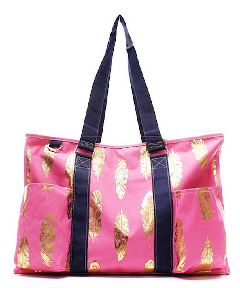 N. Gil All Purpose Organizer 18 Large Utility Tote Bag 3 -2017 Spring New Pattern (Gold Feather Pink)