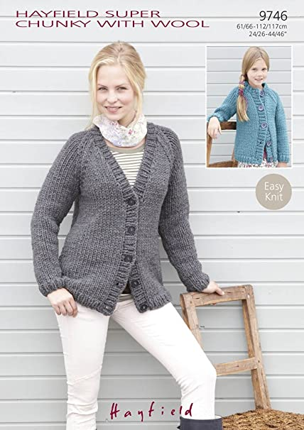 Hayfield Super Chunky With Wool Knitting Pattern 9746 Amazon Co Uk