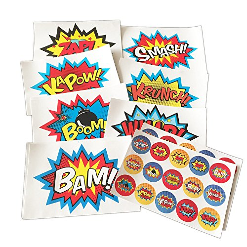 ADJOY Superhero Party Supplies Superhero Stickers 44PCS Pack (14 big + 30 small) Removable