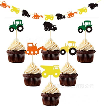 Sakolla 16Pcs Tractor Birthday Banner With Cake Toppers Farm John Deere Themed Party