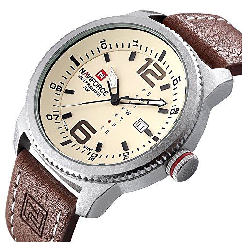 Tamlee Mens Unique Week Function Analog Quartz Leather Band Water Resistant Date Fashion Casual Watches (Seconds Date Day Month)