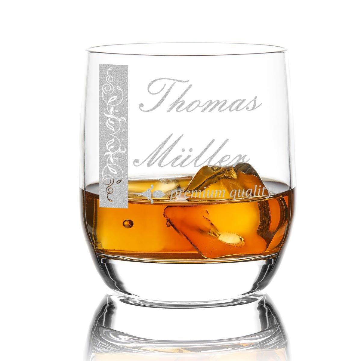 polar-effekt Stölzle Lausitz Whiskyglas 275 ml – Whiskey-Geschenk für Mann und Frau - Tumbler mit Gravur Vorname und Nachname mit Motiv verschnörkelter Rahmen