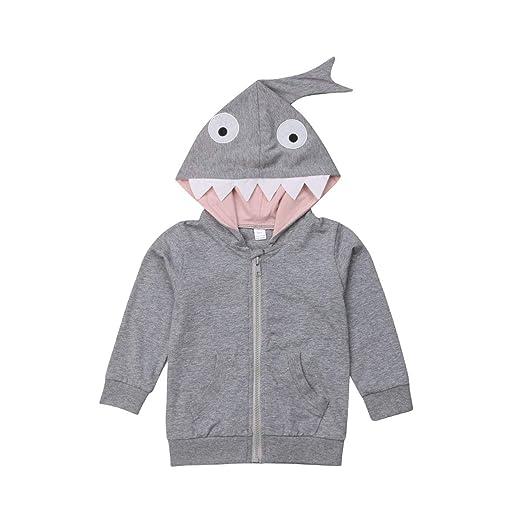 318f4aabf480 Amazon.com  Unisex Baby 3D Cartoon Shark Hooded Zipper Sweatshirt ...