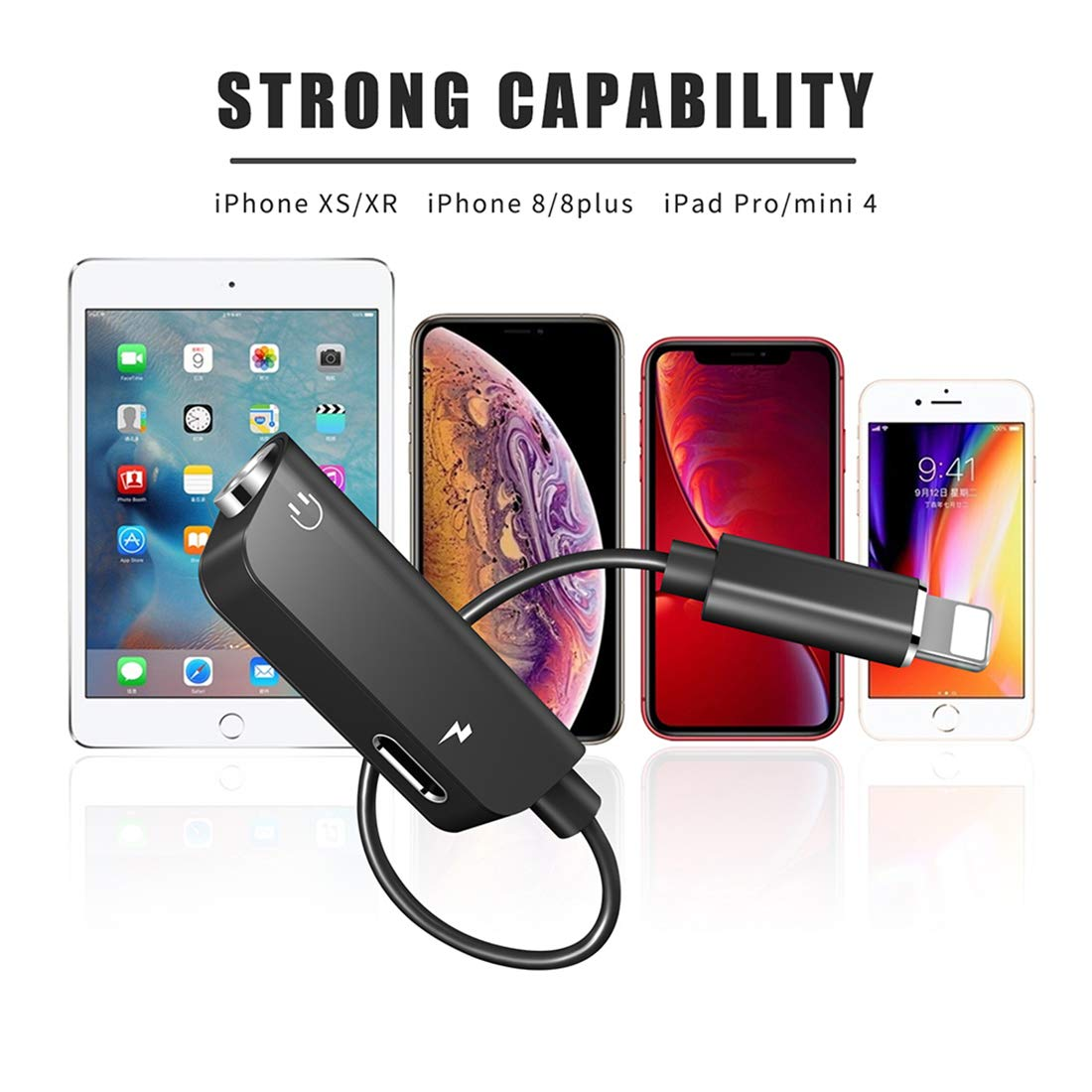 Adapter for iPhone 7 Headphone Adaptor to 3.5mm Converter Earphone for iPhone X//Xs//XS max//8//8 Plus 7//7 Plus Headphone Cable Splitter Audio Jack Headphone Cable Earbud Adapter Support iOS 12 or Later
