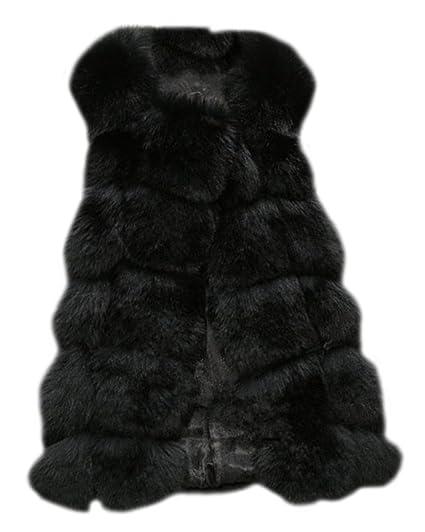 f342ee737be ZongSen Women s Faux Fur Vest Gilets Coat Jacket Sleeveless Long Waistcoat  Black S