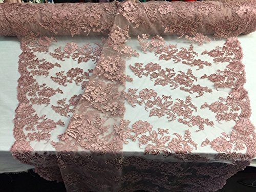 (Embroidered Lace fabric Dusty Rose-Flower Corded Mesh Bridal Wedding Dress By The Yard)