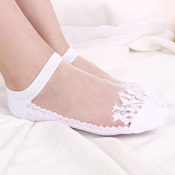 Amazon.com: Daisy Storee Socks Women Summer Thin Ankle Socks Women Glass Short Socks Transparent Beautiful Crystal Lace Elastic Short Socks: Kitchen & ...