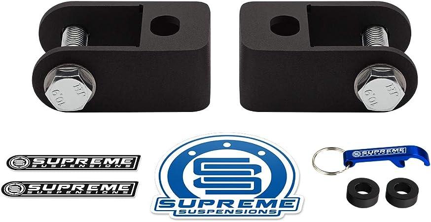Supreme Suspensions Rear Shock Extenders for 2007-2020 Chevrolet Silverado 1500 6-Lug High-Strength Steel Stock Shocks Extension Brackets 2WD 4WD