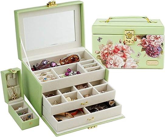 JIAYING Cajas para Joyas Organizador de Cajas de joyería, Funcional Enorme con Llave, Estuche de Cuero para Guardar Joyas, con Espejo, para Anillo/Collar/Pendiente/Pulsera, en 3 Colores: Amazon.es: Hogar