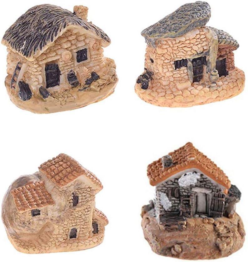 ORYOUGO 4 Pieces Miniature Fairy Garden Stone Houses,Gardening Decoration Cottage Landscape DIY Design for Outdoor, Patio, Micro Landscape