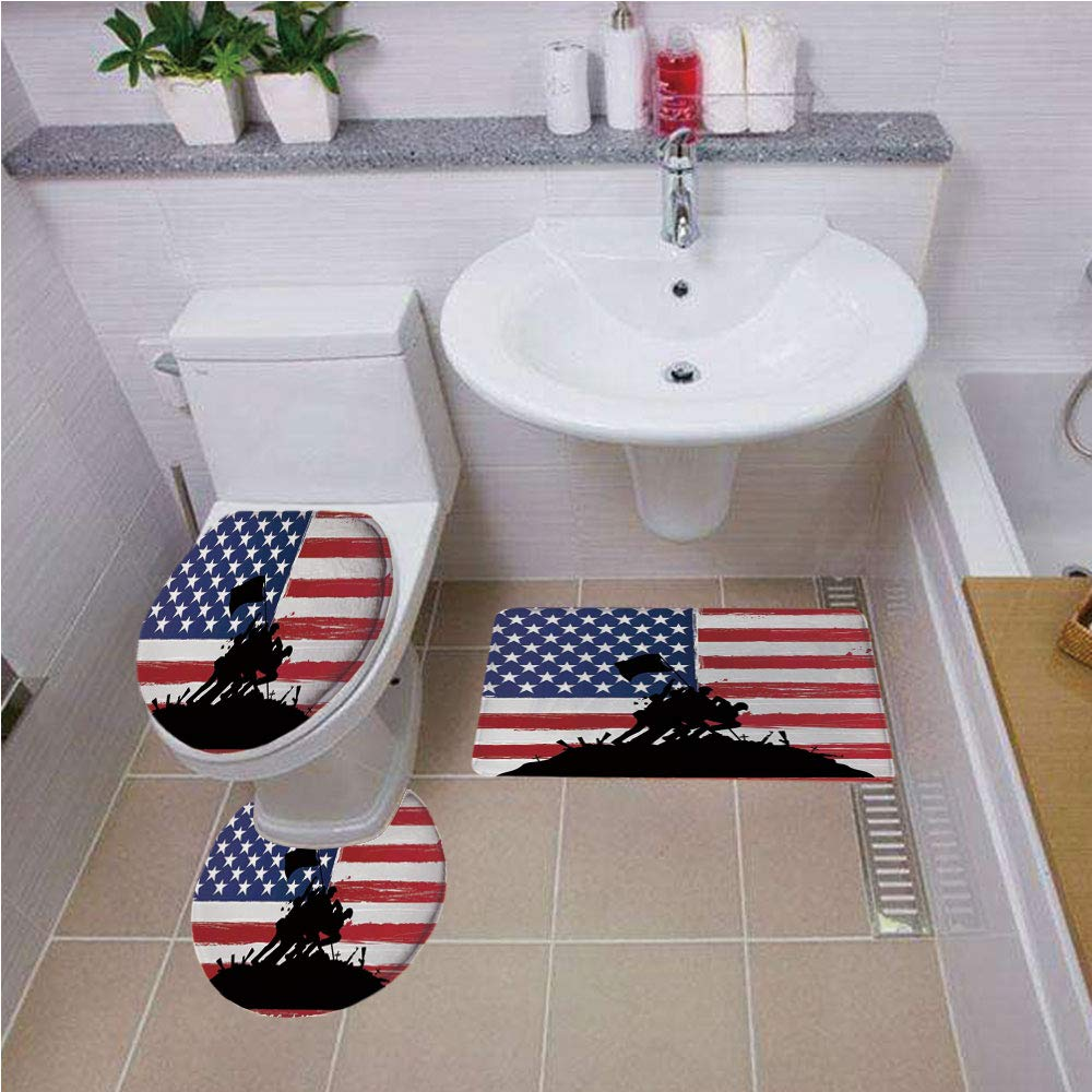 Bath mat set Round-Shaped Toilet Mat Area Rug Toilet Lid Covers 3PCS,American,Bless America Silhouettes of American Soldiers USA Flag Background Valor Theme Decorative,Black Red ,Bath mat set Round-Sh by iPrint