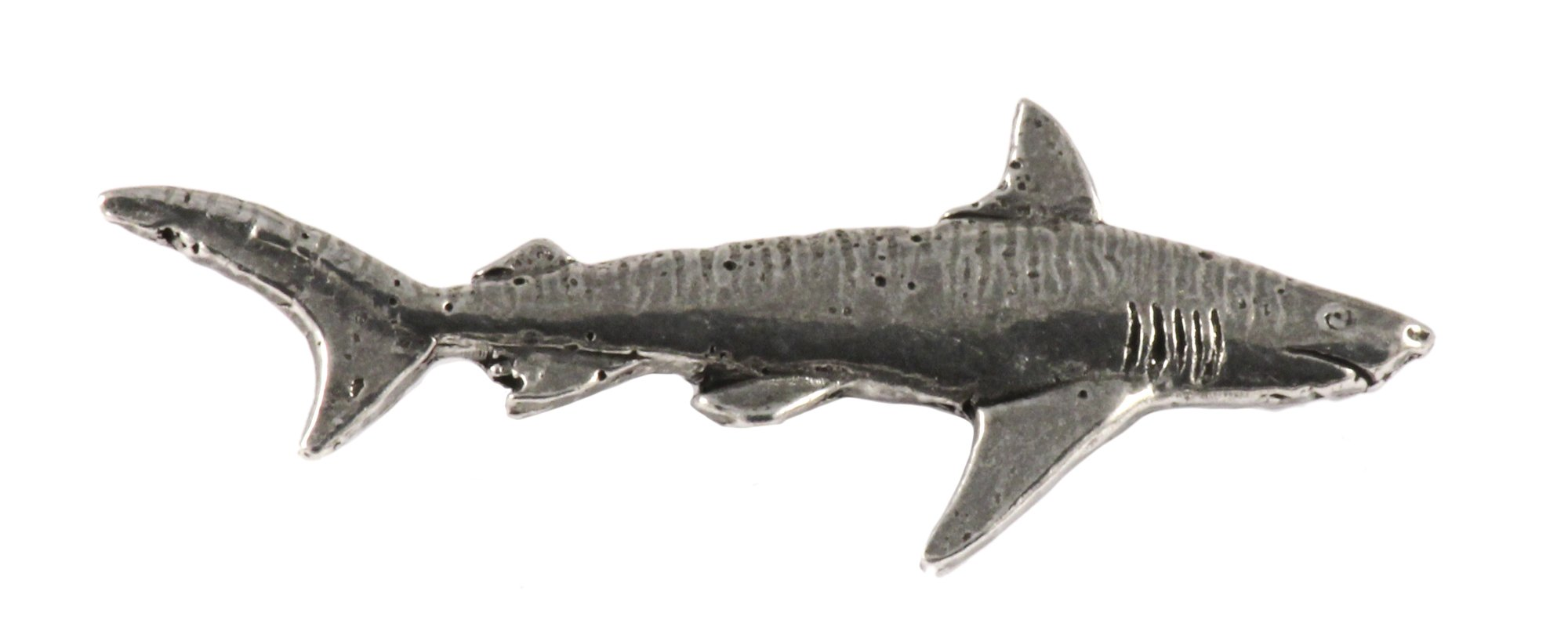 Creative Pewter Designs, Pewter Tiger Shark, Handcrafted Saltwater Fish Lapel Pin Brooch, Antique Finish, S122