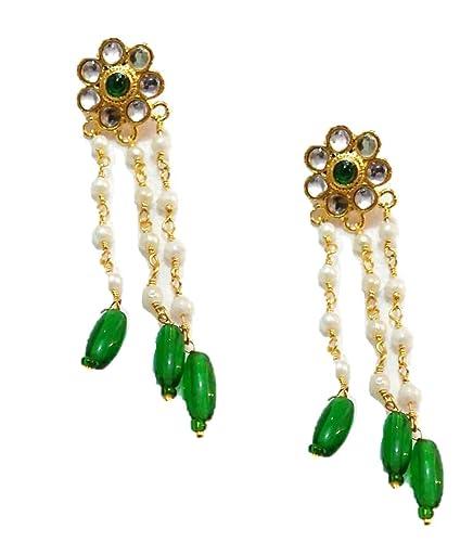 Buy Rajputi Multi Colour Brass Dangle And Drop Earrings For Women
