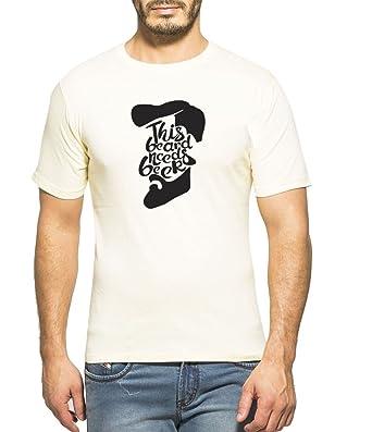 faf46725588 Clifton Men s Printed Half Sleeve R-Neck T-Shirt-Off White-Beard Man ...