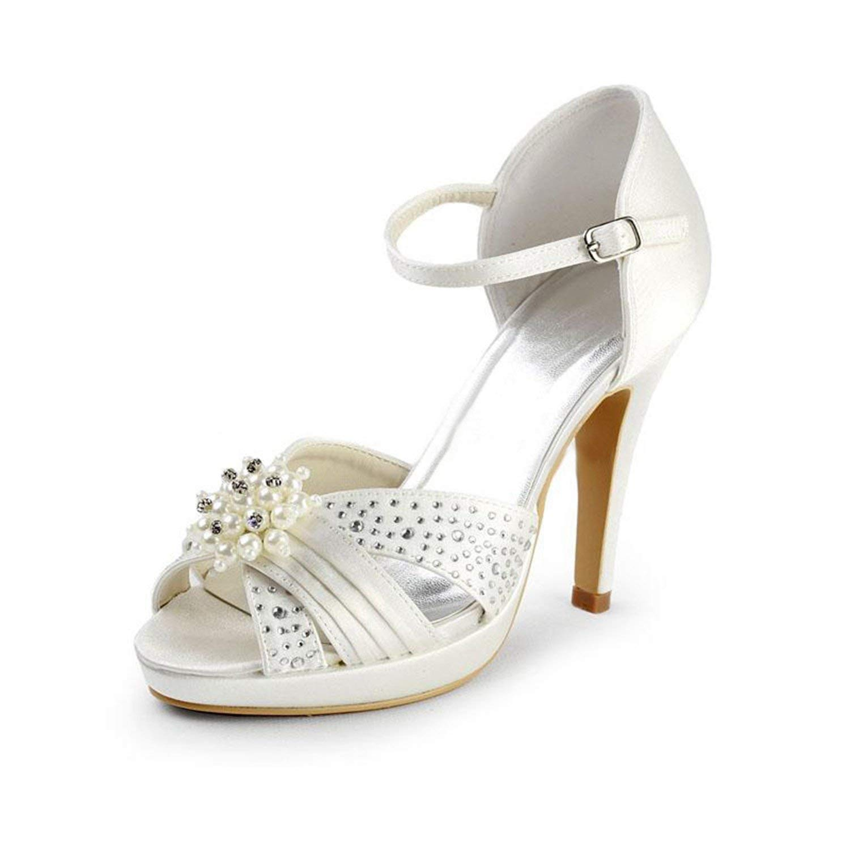 Qiusa Mädchen Platform Stiletto High Heel Braut Hochzeit Sandalen (Farbe   Ivory-10cm Heel Größe   8 UK)