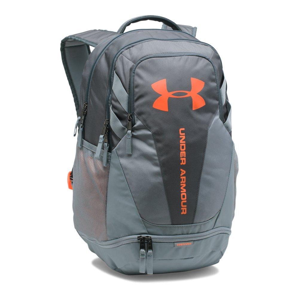 Under Armour Hustle 3.0 Backpack, Rhino Gray (076)/Magma Orange, One Size