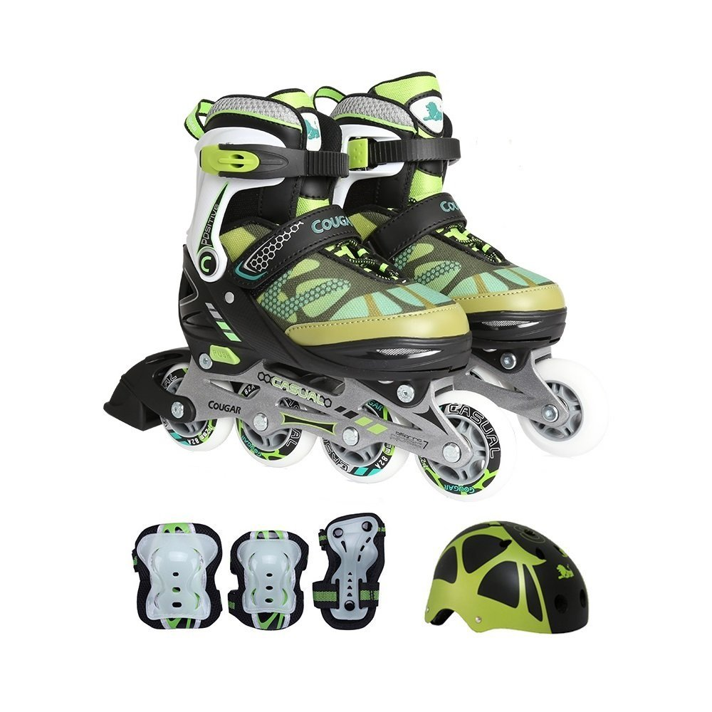 Cougar 733 Speedster Kids Inline Skates and Gear Combo (Mantis Green, Medium)