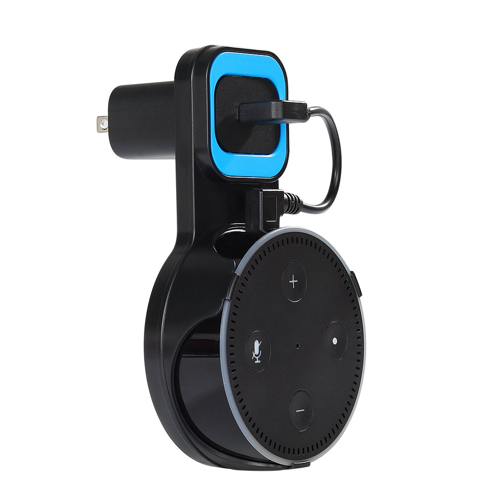 TIQUS Outlet Wall Mount Holder for Echo Dot 2nd Generation Home Speaker Case Hardware Brackets Hanger Stand Holder with Short Charging Cable [Black/Blue] Shijihuaxia
