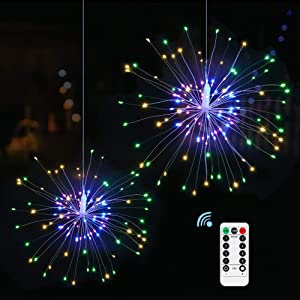 Anordsem 2 Pack Firework Lights Starburst Lights 8 Modes Battery Operated with Remote, LED Copper Wire Fireworks Hanging Lights for Wedding Party Patio Garden Outdoor Indoor Decor (Multi-Color)