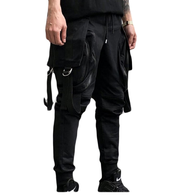 f2d1734afa Abetteric Men Fashion Hip-Hop Leisure Cargo Pants Pocket Personalized Harem  Pants