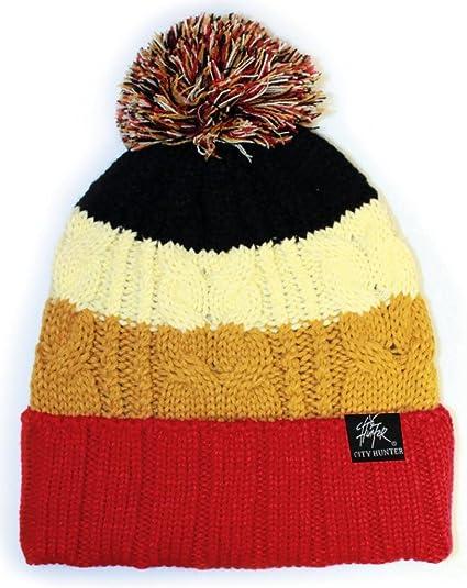e1e18453db6 Wholesale Warm Bold Stripe Winter Pom Pom Knit Ski Beanies Knit Hats  (Red Brown